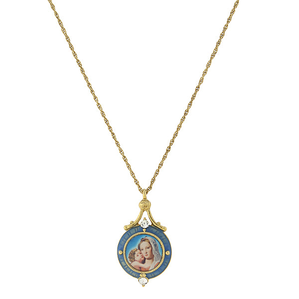 14K Gold-Dipped Blue Enamel Mary and Child Pendant Necklace 16 In Adj