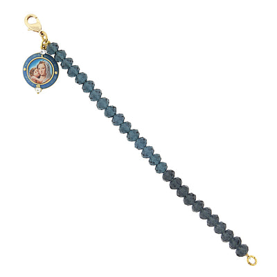 14K Gold-Dipped Dark Blue Beaded Bracelet with Mary and Child Charm