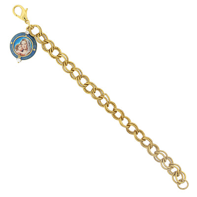 14K Gold Dipped Chain Link Bracelet With Mary And Child Charm