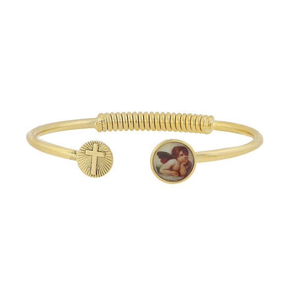 14K Gold Dipped Sping Hinge Bracelet With Cross And Cherub Decal Accent