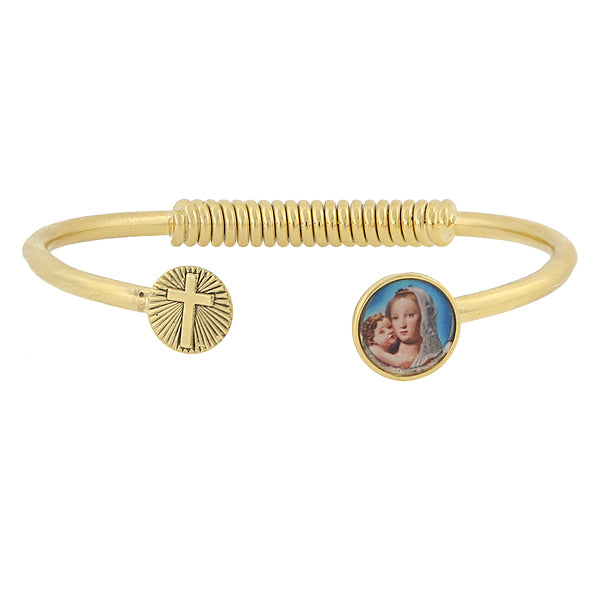 14K Gold Dipped Sping Hinge Bracelet With Cross And Mary And Child Decal Accent