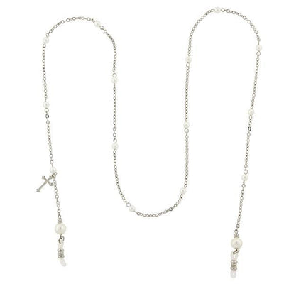 Silver-Tone Chain With Costume Pearl And Cross Charm Eyeglass Holder Necklace 30