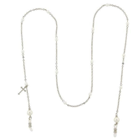 Silver-Tone Chain with Simulated Pearl and Cross Charm Eyeglass Holder 30