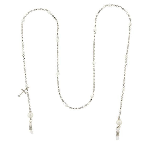 Silver Tone Chain With Costume Pearl And Cross Charm Eyeglass Holder Necklace 30