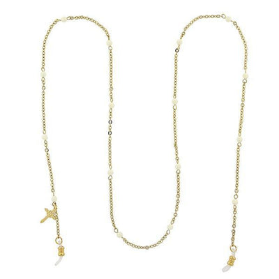 Gold Tone White Beaded With Cross Charm Eyeglass Holder Necklace 32