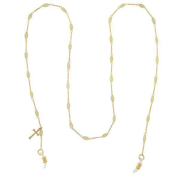 Gold-Tone Chain Filigree with Cross Charm Eyeglass Holder 30