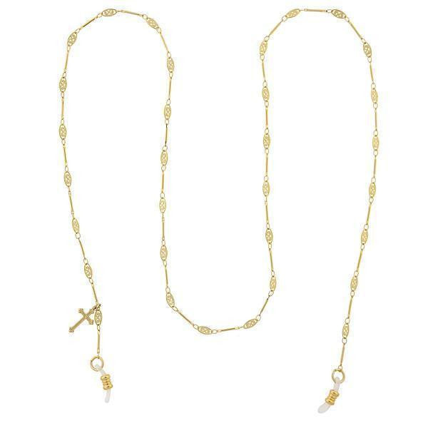 Gold Tone Chain Filigree With Cross Charm Eyeglass Holder Necklace 30