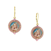 14K Gold Dipped Mary And Child Decal Earrings