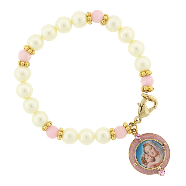 14K Gold-Dipped Costume Pearl/Pink Bracelet With Mary And Child Image Charm