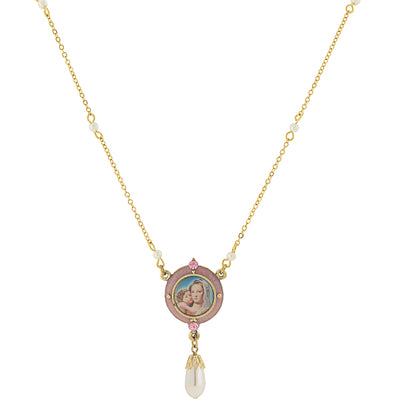 14K Gold Dipped Pink & Costume Pearl Drop Pendant Mary And Child Necklace 16   19 Inch Adjustable