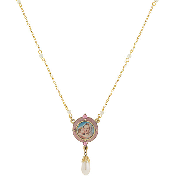 14K Gold-Dipped Pink & Costume Pearl Drop Pendant Mary and Child Necklace 16 In Adj