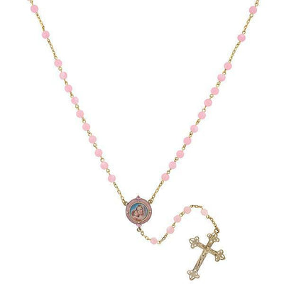 14K Gold Dipped Pink Beaded Rosary With Mary And Child Enamel Decal