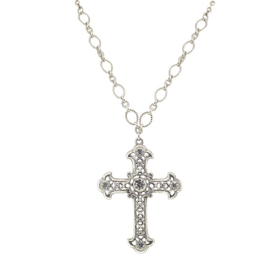 Crystal Large Cross Necklace 28 Inch Adjustable
