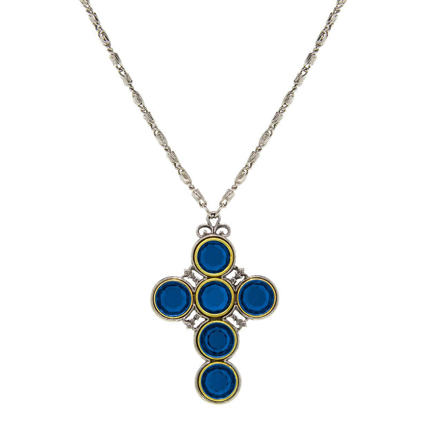 Pewter Color Crystal Cross Blue