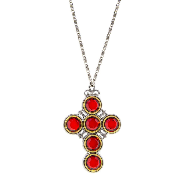 Pewter Color Crystal Cross RED