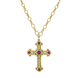 Crystal Large Cross Necklace 14K Gold Dipped