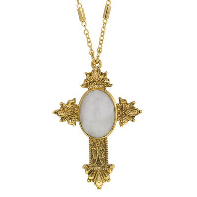 14K Gold Dipped Oval Genuine Semi Precious Stone Cross Necklace 28 Inches