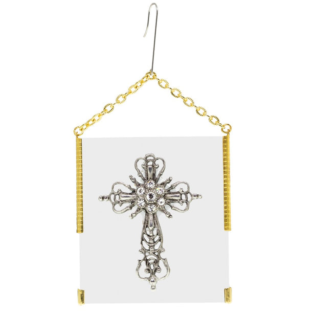 Vintage Style Glass Cross Ornament With White Crystals