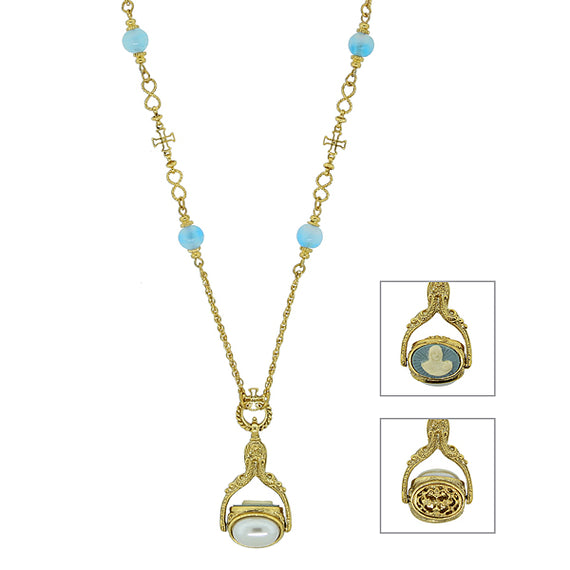 Symbols Of Faith 14k Gold Dipped Mary Cameo Spinning Pendant Necklace