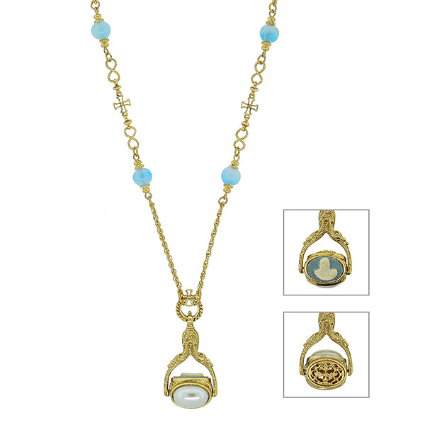 14K Gold Dipped Triple Spinner Costume Pearl Mary Cameo Blue Bead Necklace 30 In