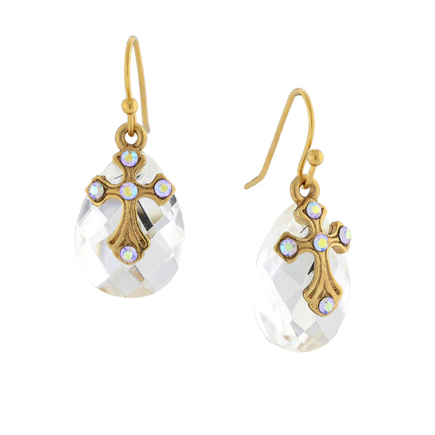 14K Gold-Dipped Crystal Ab Briolette Cross Drop Earrings
