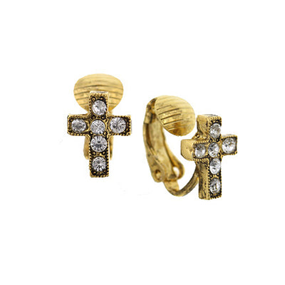 Gold Tone Crystal Cross Stud Clip Earrings