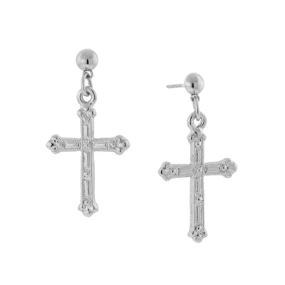 Silver-Tone Cross Drop Earrings