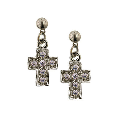 Silver Tone Crystal Cross Drop Earrings