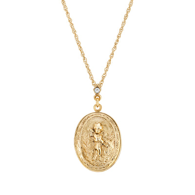 14K Gold Dipped Oval Angel Locket Necklace With Crystal 18 Inch