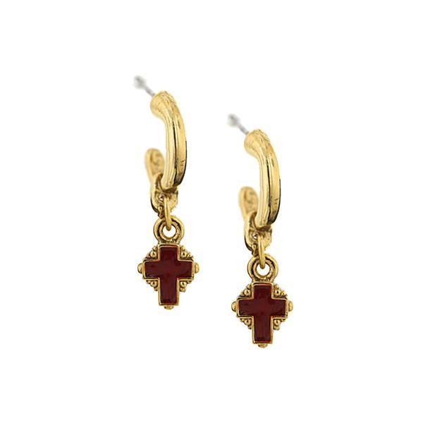 Gold-Tone Hoops With Red Enamel Cross Drop Earrings