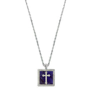 Silver-Tone Blue Sodalite Square With Cross Pendant 18 Inch