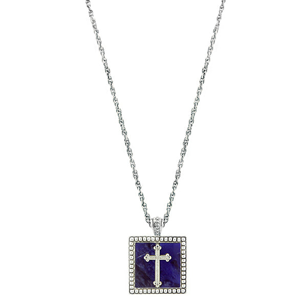 Silver Tone Blue Sodalite Square With Cross Pendant 18 Inch