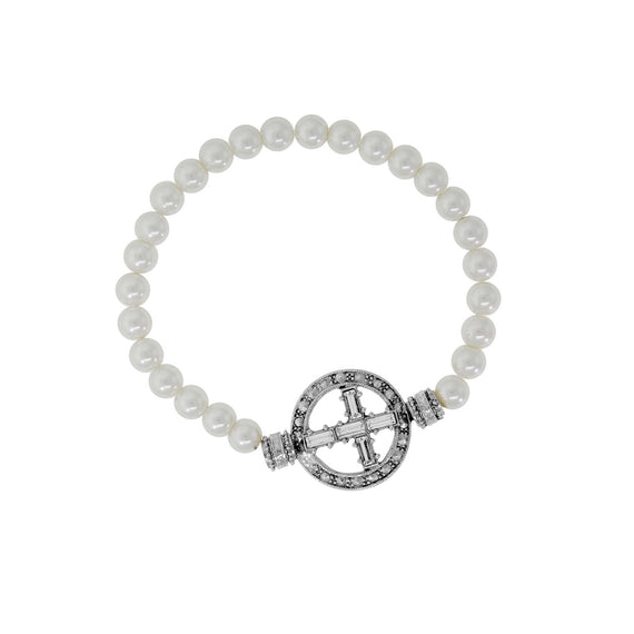 Crystal Cross Faux Pearl Stretch Bracelet