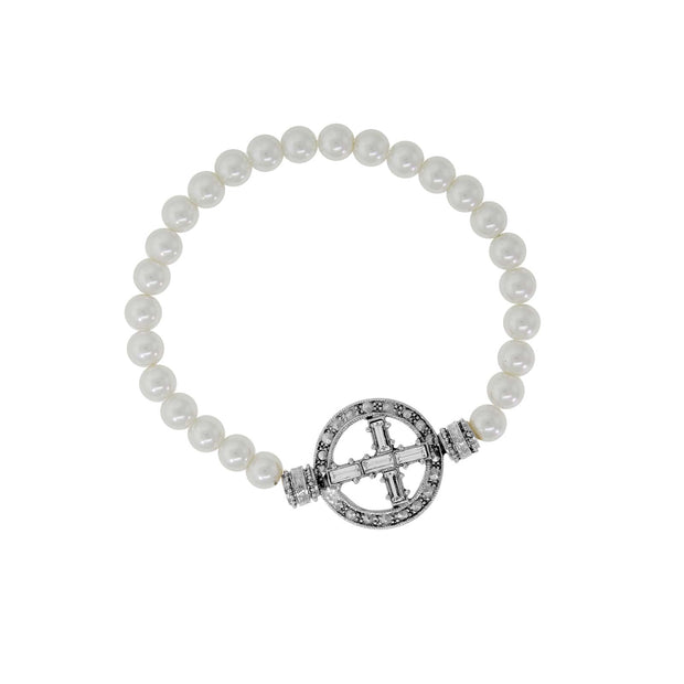 Pewter Crystal Cross Costume Pearl Stretch Bracelet