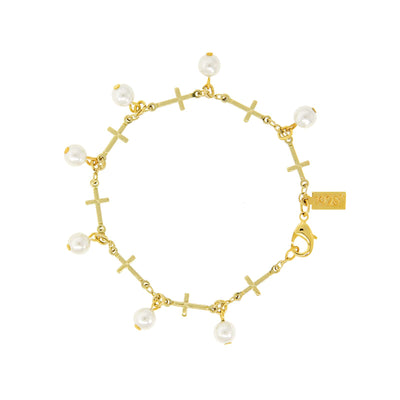 14K Gold Dipped Multi Cross Costume Pearl Link Bracelet
