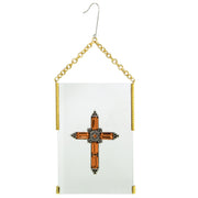 Gold Tone Crystal Cross Glass Hanging Ornament Green