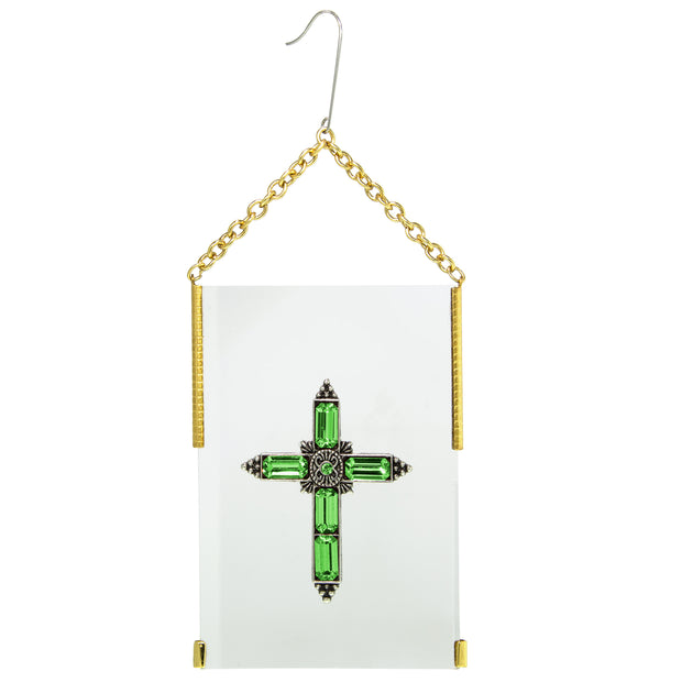 Gold Tone Crystal Cross Glass Hanging Ornament Blue