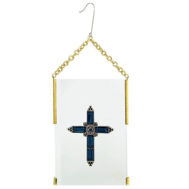 Gold Tone Crystal Cross Glass Hanging Ornament Crystal Clear