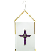 Gold Tone Pink Crystal Cross Glass Hanging Ornament
