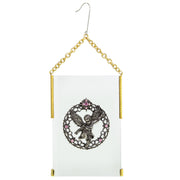 Gold Tone Crystal Angel Glass Hanging Ornament Yellow