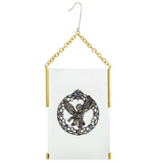 Gold Tone Clear Crystal Angel Glass Hanging Ornament