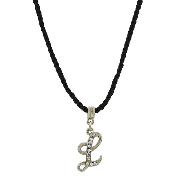 1928 Jewelry: 1928 Jewelry - Black Chord Silver-Tone Crystal Initial  L  Necklace  14 Adj.