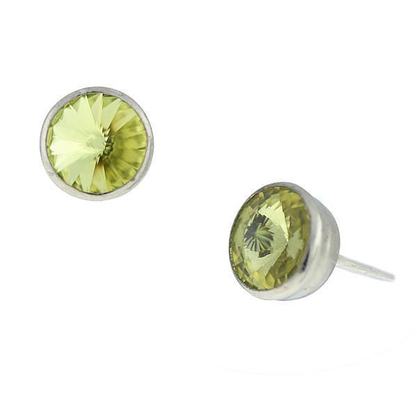 Silver Tone Jonquil Yellow Swarovski Stud Earrings