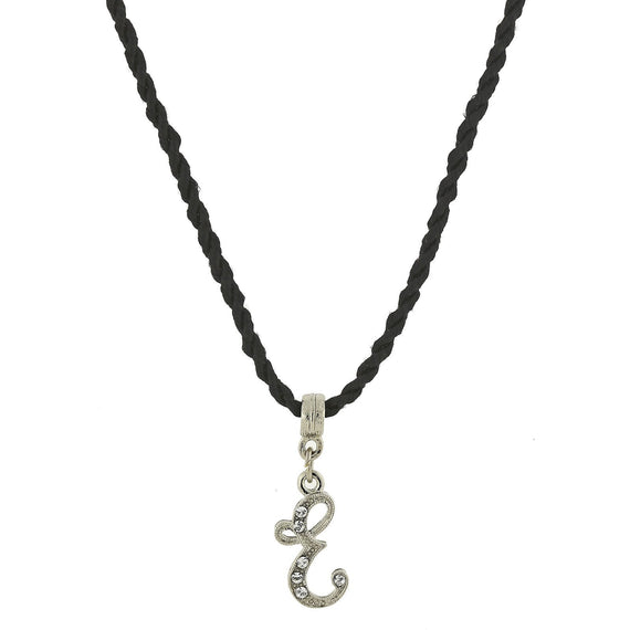 1928 Jewelry: 1928 Jewelry - Black Chord Silver-Tone Crystal Initial  E  Necklace  14 Adj.
