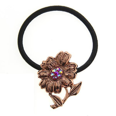 Copper-Tone Red Crystal AB Flower Ponytail Holder