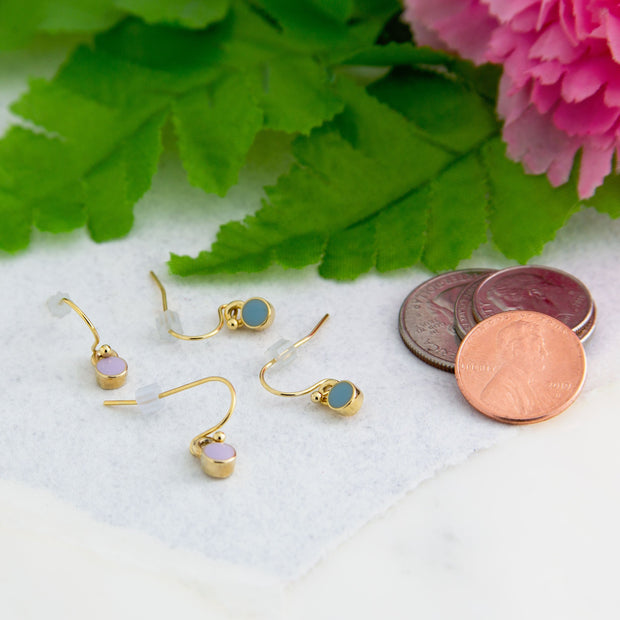 14K Gold Dipped Enamel Button Dainty Wire Drop Earring (Small) Light Purple