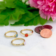 1928 Jewelry 14K Gold Dipped Round Enamel Dainty Ring Size 7