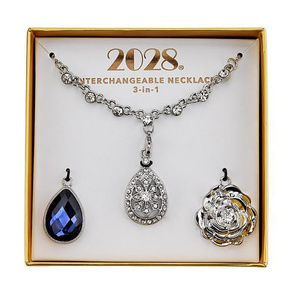 2028 Silver-Tone Blue and Crystal Interchangeable Pendant Necklace Boxed Set
