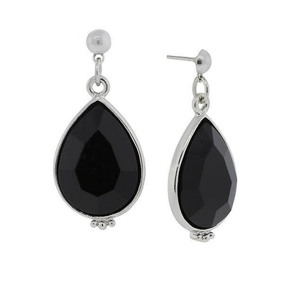 Silver Tone Black Teardrop Earrings
