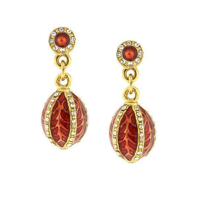 14K Gold Dipped Enamel Red Trellis Egg Earrings